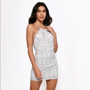 TOBI GIVE ME YOUR LOVE GREY LACE BODYCON DRESS